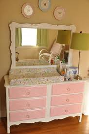 Changing Table Dresser Cherry Pink And White Wooden Changing Table For Nursery Six
