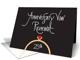 vow renewal cards congratulations 25th anniversary vow renewal congratulations ring and heart card