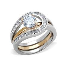 stone wedding rings images Adele two tones rose gold interlocking cz stone wedding ring set jpg