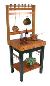 butcher block kitchen island cart boos cherry pro prep bloc and optional pot rack