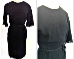 Sixties Vintage Blue Brocade Wiggle Dress Size Small 4 6