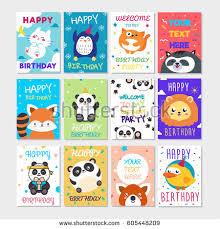 cute happy birthday greeting card child stock vector 575707252