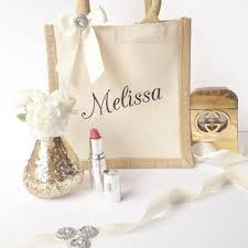 bridesmaid bags personalised rustic and ivory small bridesmaid jute gift bag by