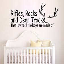 online get cheap plastic deer hunting aliexpress com alibaba group 57x30cm wall decal quote rifles racks and deer tracks hunting vinyl sticker boys nursery decor art kids room decor mural yo 172