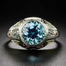 6 24 carat blue zircon tri color gold art deco ring