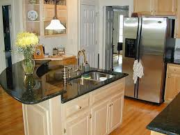 Little Kitchen Island Kitchen Contemporary Wooden Cabinet Layout With Black Top Table
