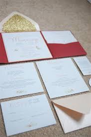 wedding invitation pocket envelopes scarlet floral and gold glitter lined real diy wedding invitation