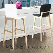 White Wooden Bar Stool High End Engineering Supporting Wood Bar Chairs High Back Plastic