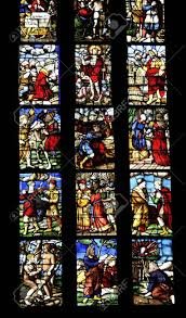 stained glass window in milan cathedral in northern italy stock