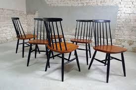 set of 6 vintage scandinavian chairs in teak 1950s design market