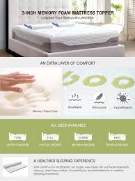 amazon com langria 2 inch memory foam mattress topper with