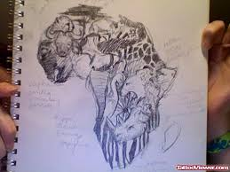 wild animal in african map tattoo design tattoo viewer com