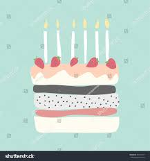 cute happy birthday card cake candles stock vector 461515747