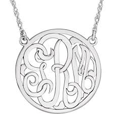 sterling silver monogram necklace pendant personalized lace 3 letter monogram pendant necklace in sterling