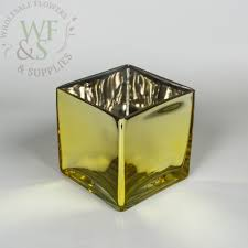 Square Glass Vase Mirrored Gold Square Glass Vase 4 6 X 4 6 Wholesale Flowers And