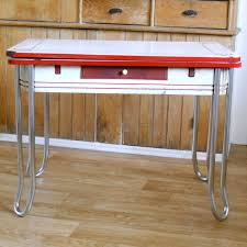 Vintage Enamel Top Table  Red And White Metal Chrome And Enamel - Vintage metal kitchen table
