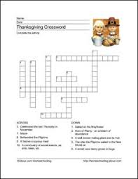 thanksgiving crossword puzzle with answer key grade 3