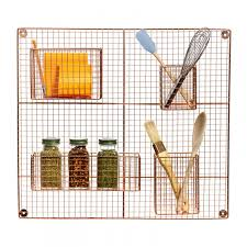 trellis wall grid copper metal wire kitchen storage rack