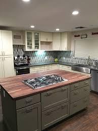 cream u0026 green shaker cabinets butcher block island counter