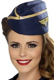 Halloween Costume Hats Blue Gold Retro Flight Attendant Hat Candy Apple Costumes Hats