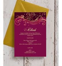 mehndi invitation cards burgundy gold mehndi baraat card from 1 00 each