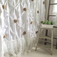 white shower curtain with ruffles pin tuck shabby chic u2013 hallstrom