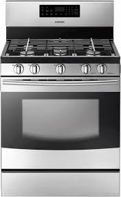 Clean Stainless Steel Cooktop Samsung 5 8 Cu Ft Self Cleaning Freestanding Gas Range Silver