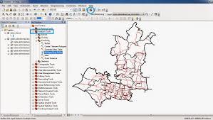 fungsi layout peta dalam sig adalah membuat peta jangkauan dengan analisis buffering dan overlay di