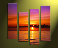 4 piece red ocean canvas photography