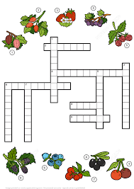 Printable Halloween Crossword Puzzles by Crossword Puzzle About Berries Free Printable Puzzle Games
