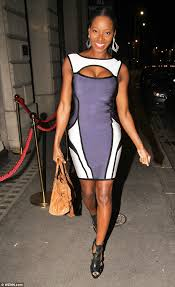 jamelia parties the night away in blue cut out bodycon dress
