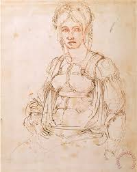 michelangelo buonarroti sketch of a seated woman painting sketch