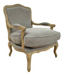 French Style Armchair French Style Louis Armchair Solid Oak Dove Grey