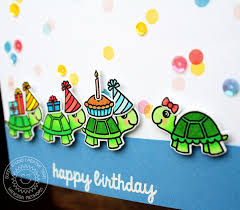 sunny studio turtley awesome turtle parade happy birthday card