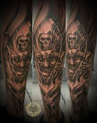 out standing demon face horror tattoo design for girls picsmine