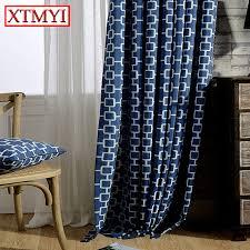 Kitchen Window Curtains Modern Linen Blackout Curtains For Living Room Blue Grid Kitchen