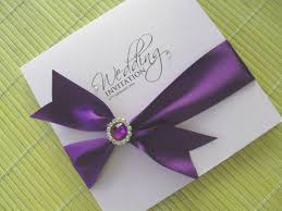 purple wedding invitations cadburys purple wedding invitation with embellishment other