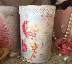 pink shabby chic christmas can vase table decor centerpiece