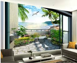 custom 3d wallpaper balcony garden sea view room 3d stereo photo
