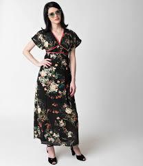 flutter style dress vintage style black floral flutter sleeve chiffon maxi dress
