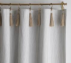 Ticking Stripe Curtains The Emily Meritt Ticking Stripe Drape With Hook And Tassel