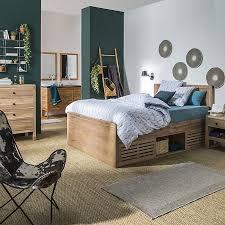 chambre acacia lit 2 places en acacia avec rangements et tête de lit 160x200cm