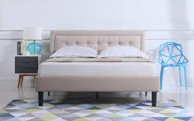 camden low profile bed w nailhead trim headboard ivory