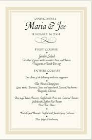 menu templates sle wedding menu templates free