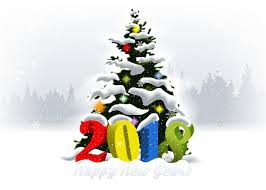 2018 new year christmas tree on snow falling background vector