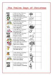 the twelve days of christmas worksheet by carotte