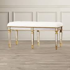 tufted antique mirrored base bench