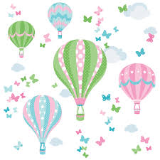 heißluftballon kinderzimmer dinki balloon kinderzimmer wandsticker heißluftballons rosa grün