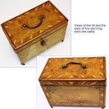 inlaid walnut tea caddy with secret side drawer late 18th u2013 early