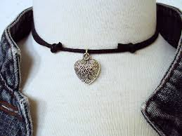 choker necklace with charms images Steampunk heart choker necklace heart choker black choker jpg